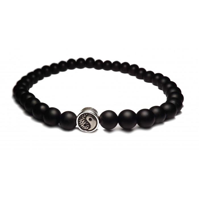 bracelet yin yang perles noir