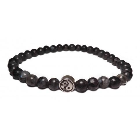 bracelet yin yang perles grises petites labradorite