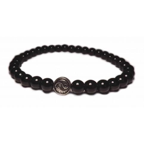 Le bracelet yin yang boules noir