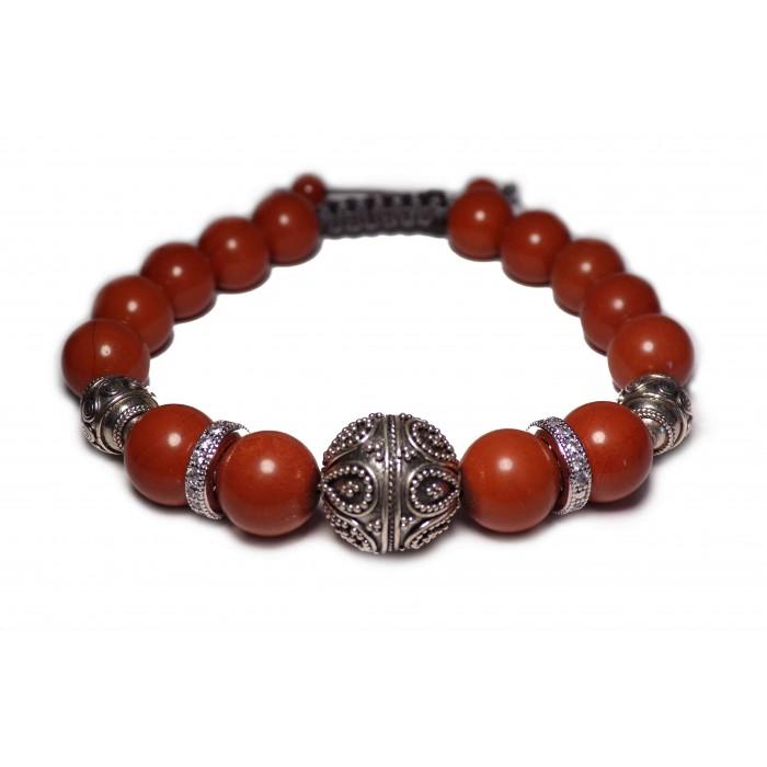 bracelet shamballa perles Jaspe rouge luxe