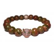 Le bracelet mala luxe perles Unakite vert