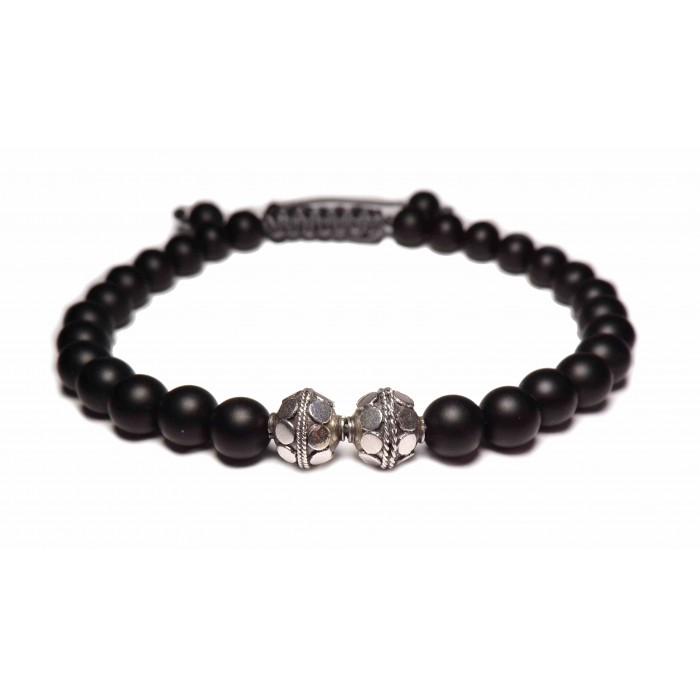 Le bracelet perles argent style shamballa