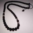 collier shamballa perles noir mat et argent