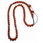 Le collier shamballa perles Jaspe rouge et argent