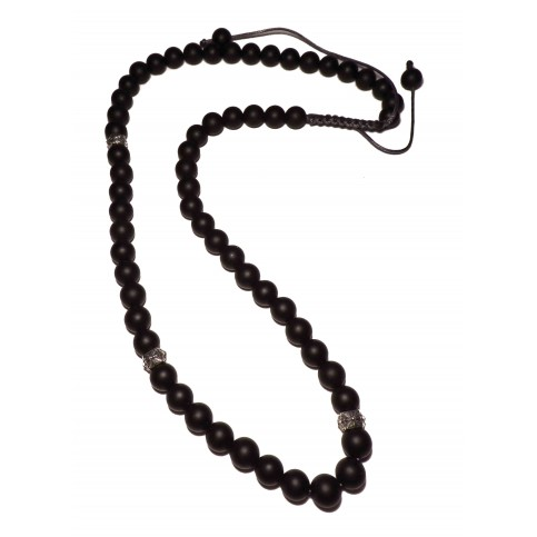 collier shamballa perles noir mat