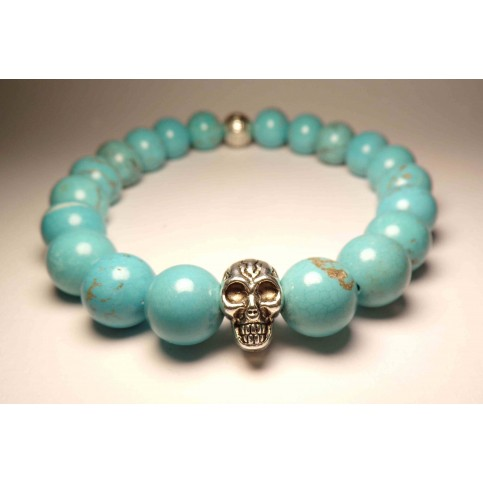 bracelet tete de mort bleu