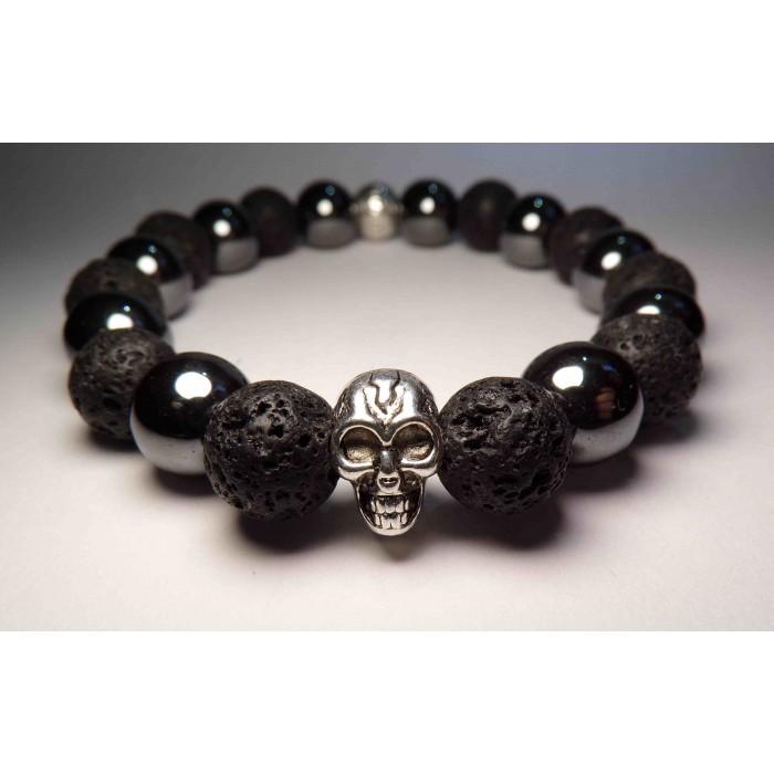 bracelet tete de mort hematite