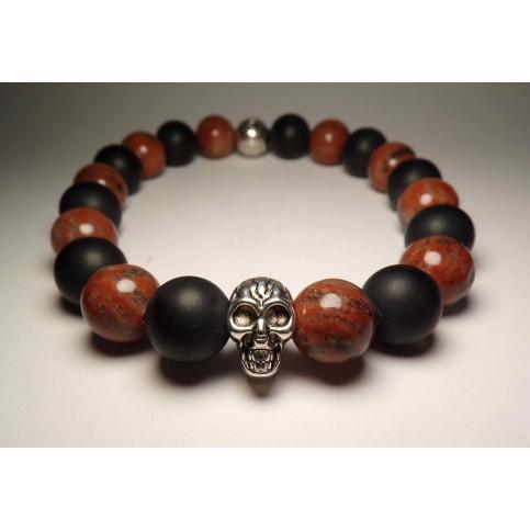 bracelet tete de mort jaspe marron