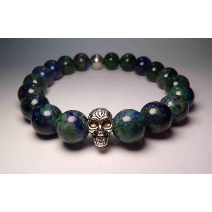 bracelet tete de mort lapis lazuli