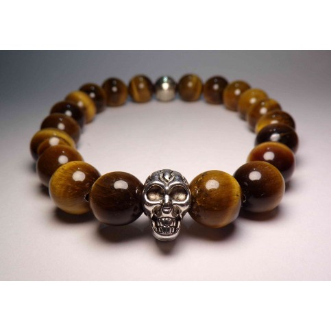 bracelet tete de mort oeil de tigre