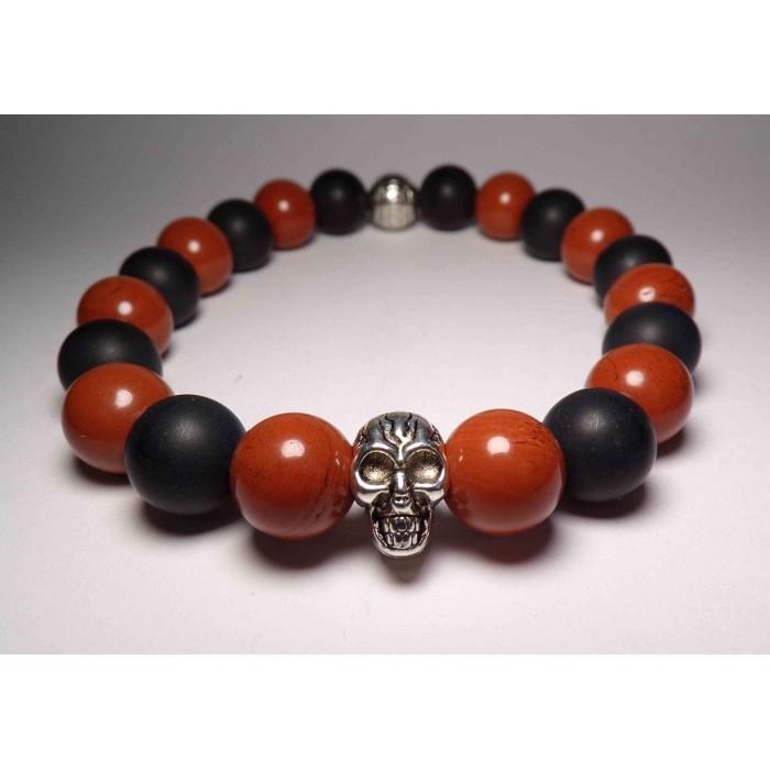 Le bracelet tete de mort jaspe rouge