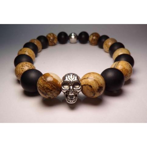 bracelet tete de mort jaspe clair