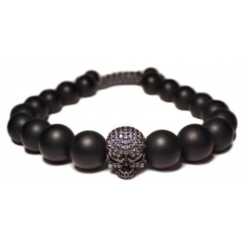 Le bracelet shamballa tete de mort noir