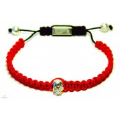 bracelet rouge shamballa tete de mort en argent