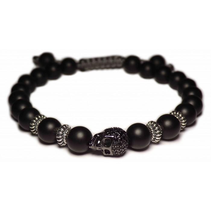 Le bracelet shamballa skull noir