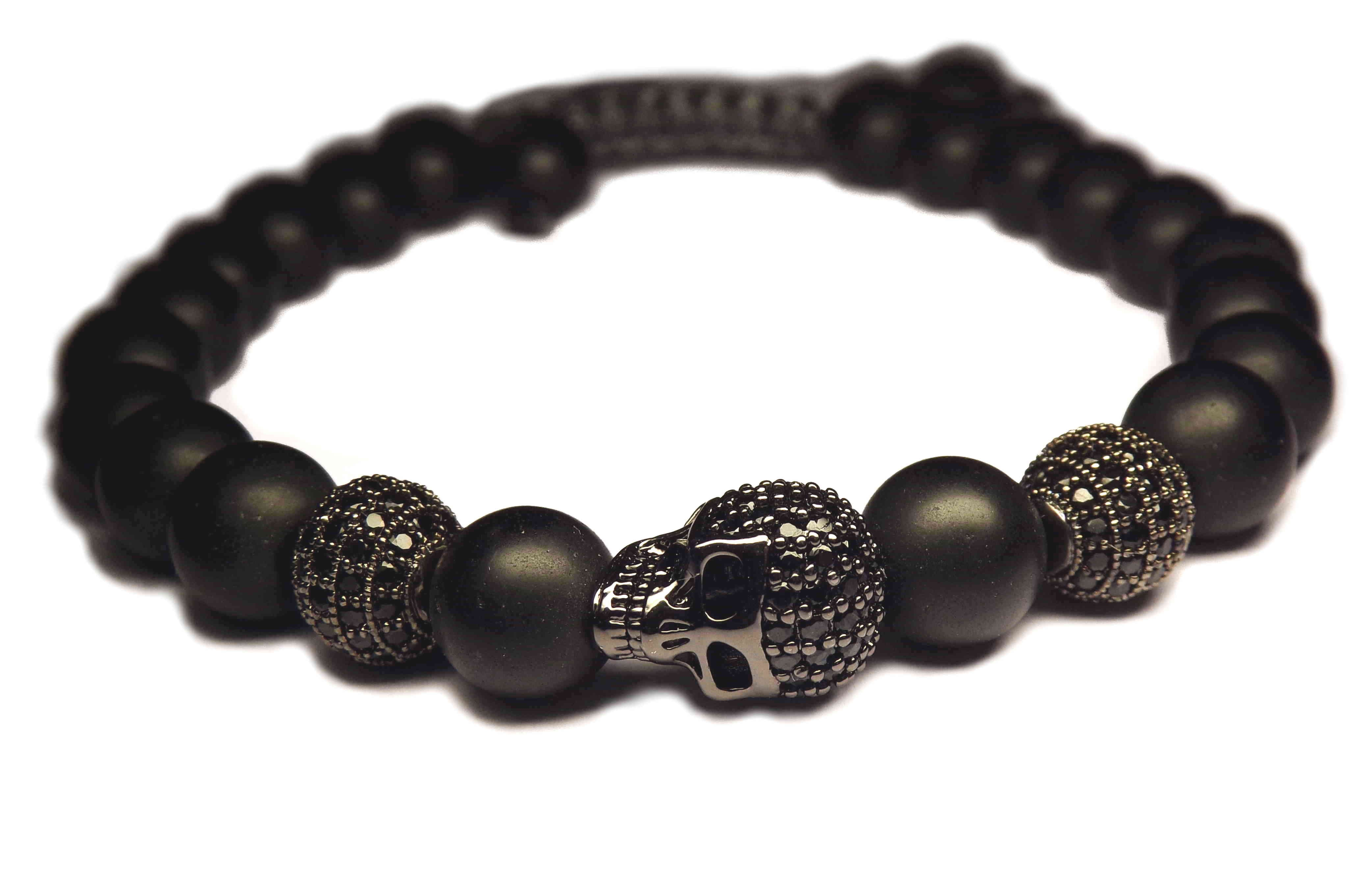 shamballa bracelet tete de mort noir et perles noir onyx. Black Bedroom Furniture Sets. Home Design Ideas