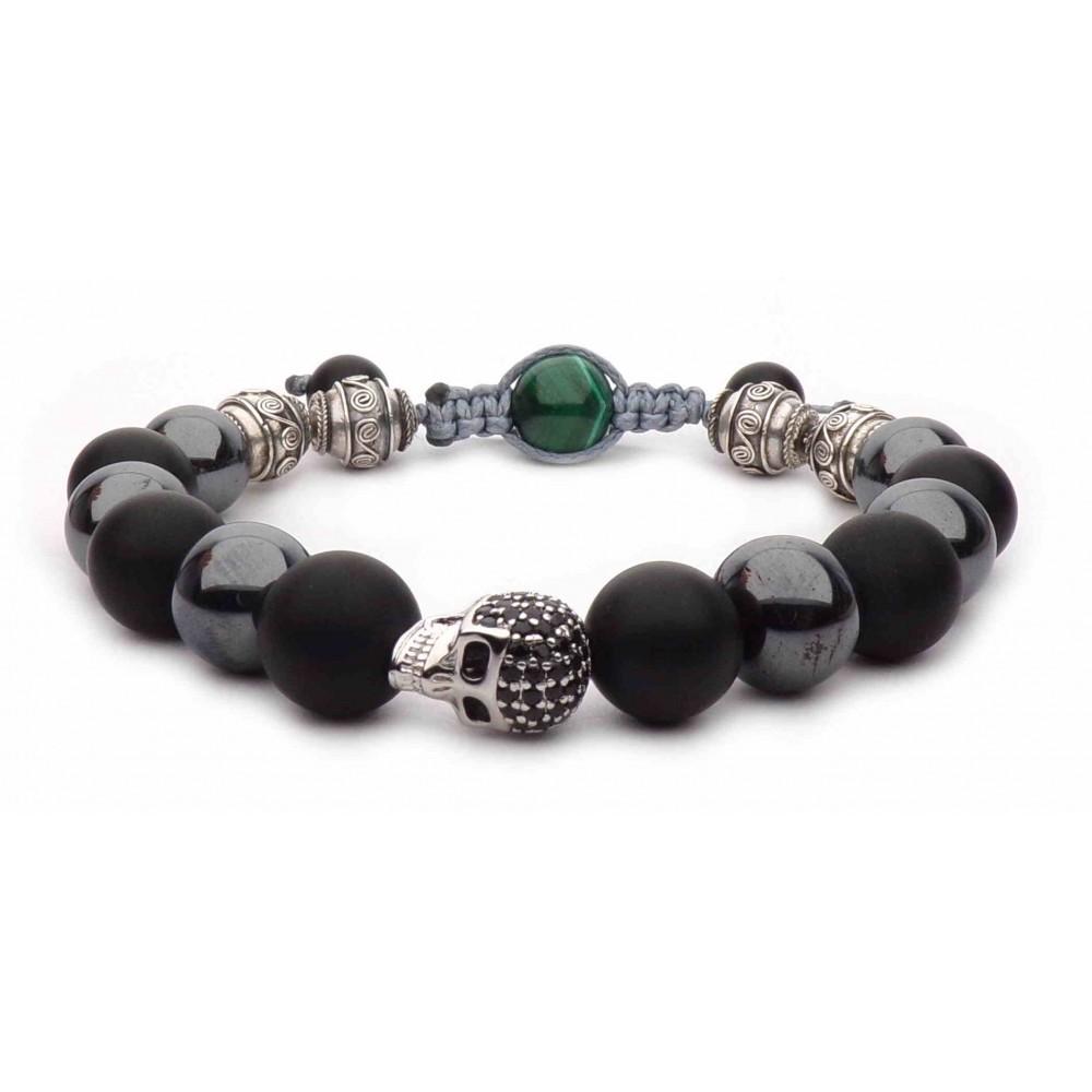 shamballa bracelet tete de mort argent et perles sombre h matite et onyx luxe pour homme. Black Bedroom Furniture Sets. Home Design Ideas