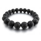 Le bracelet pierre de lave noir