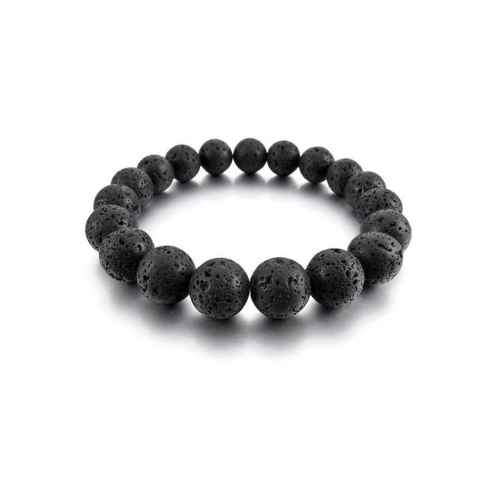 bracelet mala perles pierre de lave noir sur elastique pour hommes. Black Bedroom Furniture Sets. Home Design Ideas