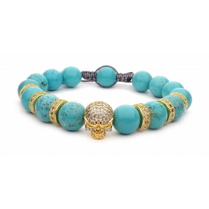 bracelet tete de mort or jaune et turquoise bleu shamballa