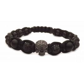 Le bracelet tressé rock tete de mort noir