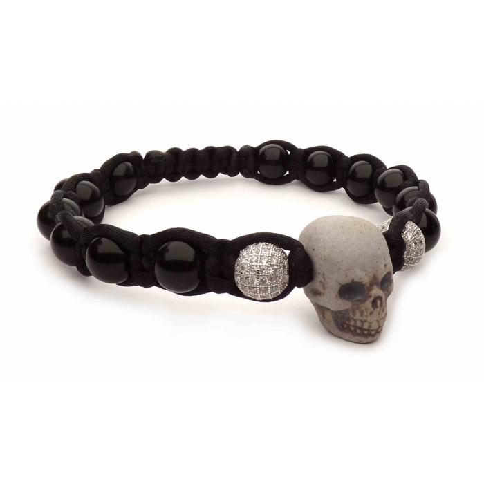 Bracelet johnny hallyday tete de mort très grande