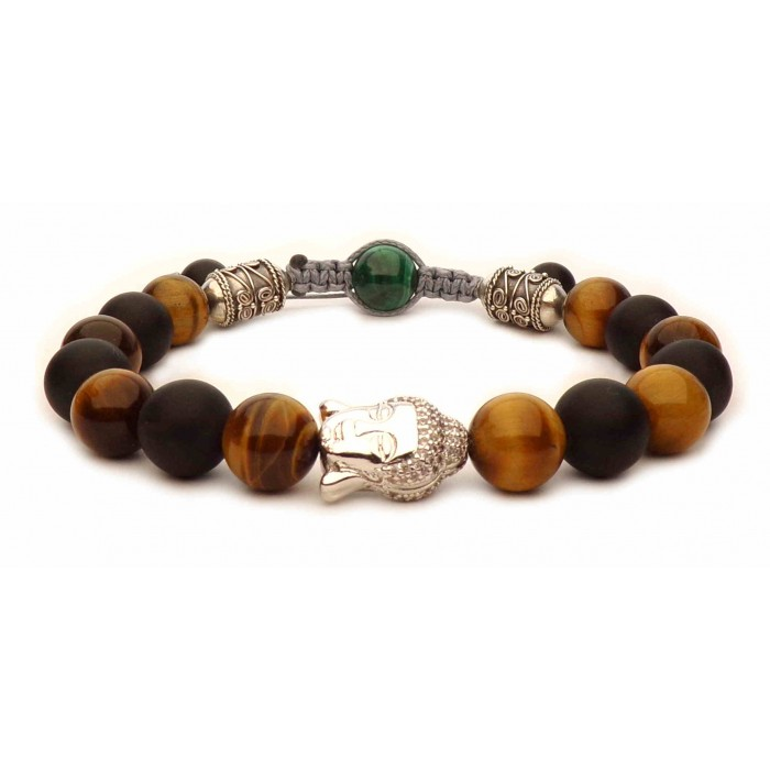 bracelet perles avec grand Bouddha argent