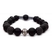 bracelet shamballa noir mat