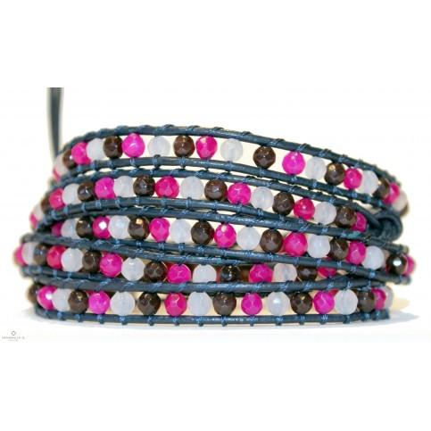 bracelet wrap multi rang rose a enrouler