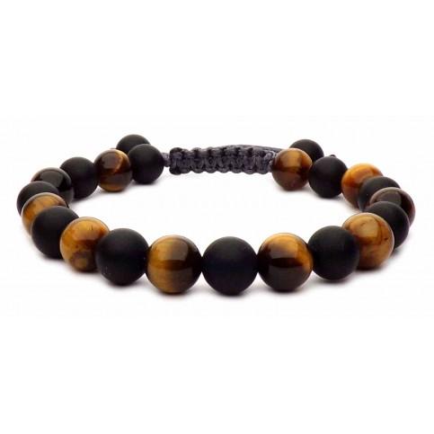 Le bracelet Oeil de tigre & Onyx