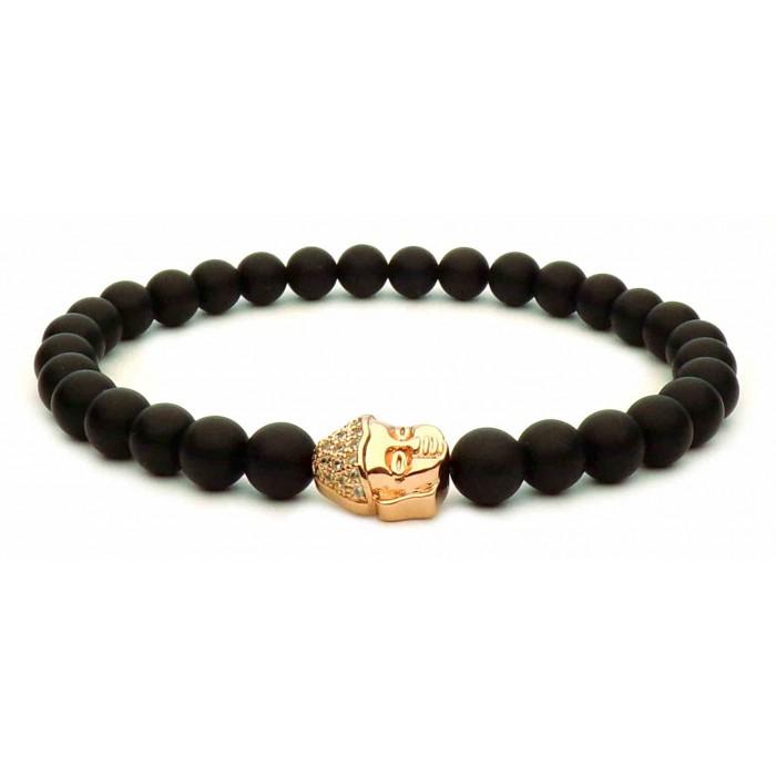 bracelet perles noir et bouddha or