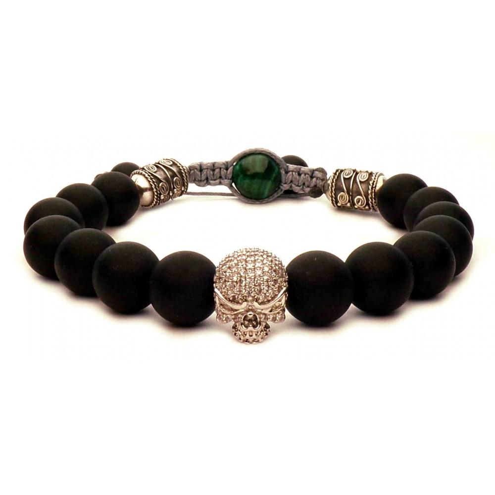 bracelet shamballa tete de mort argent et perles noir mat onyx luxe. Black Bedroom Furniture Sets. Home Design Ideas