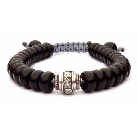 Le bracelet shamballa rondelles noir