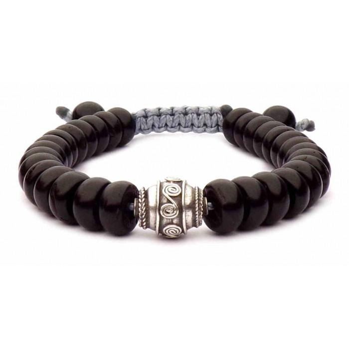 bracelet perles plate noir