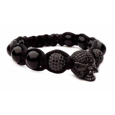 Bracelet tete de mort noir johnny halliday