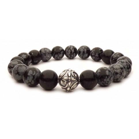 bracelet perles en obsidienne