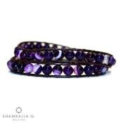 bracelet a enrouler violet perles en agate