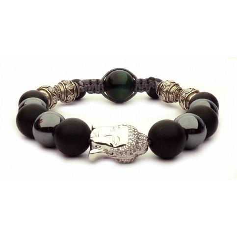 bracelet cordon et perles Bouddha argent