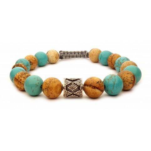 Le bracelet shamballa Jaspe & Turquoise