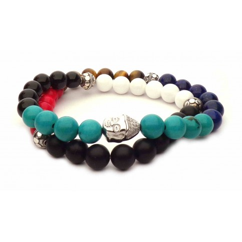 Le bracelet mala Bouddha argent double