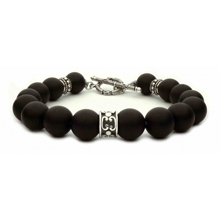 bracelet perles noir et fermoir en t