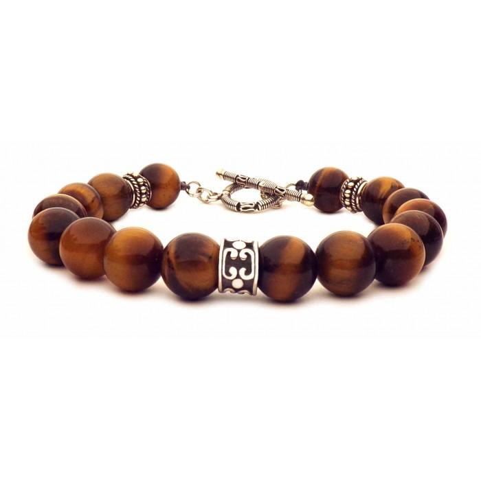 bracelet oeil de tigre fermoir en t argent