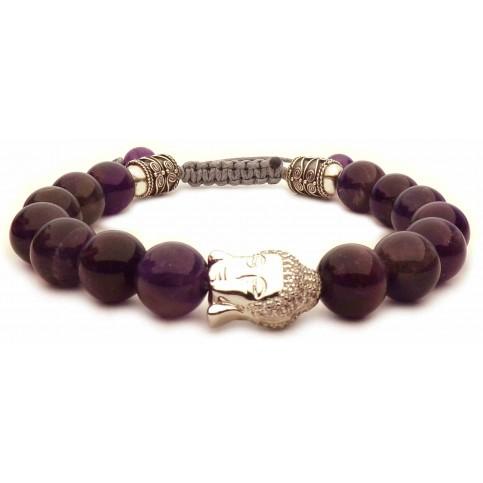 bracelet Bouddha argent et perles Améthyste