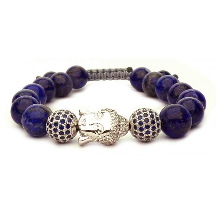 bracelet Bouddha argent et perles Lapis lazuli