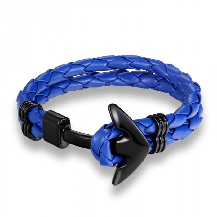 Bracelet ancre cuir bleu