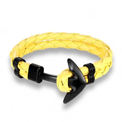 Bracelet ancre cuir jaune