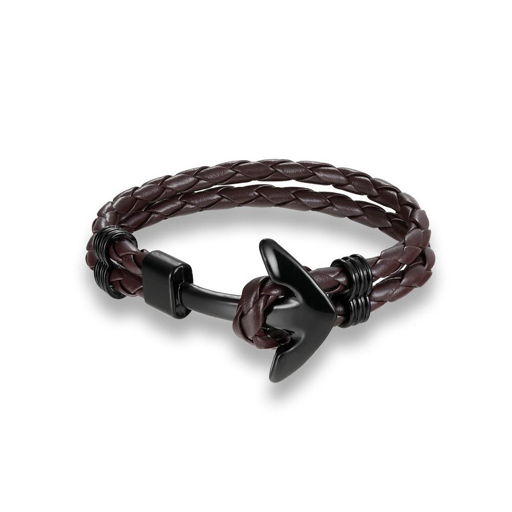 bracelet ancre sur cuir marron fonc tress. Black Bedroom Furniture Sets. Home Design Ideas