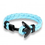 Bracelet ancre cuir bleu clair