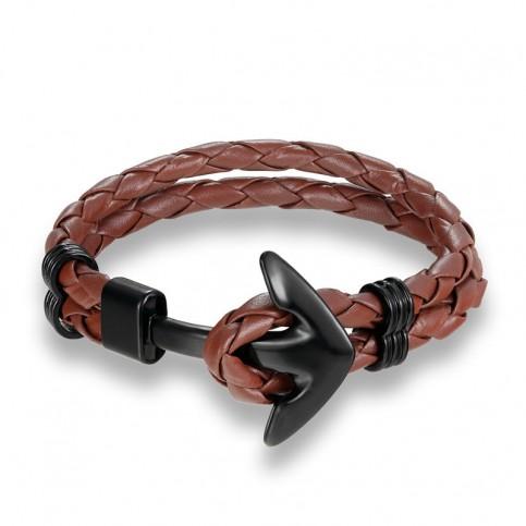 Bracelet ancre cuir marron clair