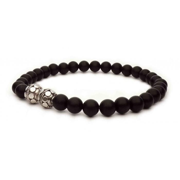 bracelet tibetain noir et argent